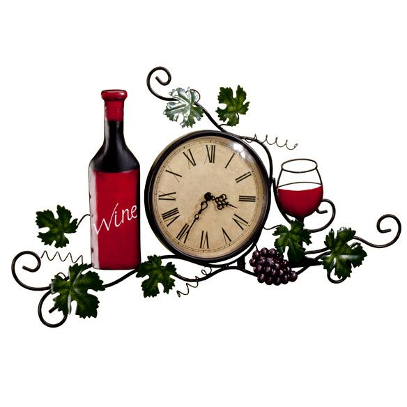 "[{""textkey"":1,""title"":""Description"",""text"":""A beautiful blend of form and function, this artful wine wall clock creates an elegant focal point—bringing a fresh new look to any space. Wonderfully detailed in handpainted metal, its intricate grapevines, bottle and wine glass enhance a classic clock, graced with sophisticated, easy-to-read roman numerals. Kitchen wall clock uses 1 AA battery (not included). Easy 2-pc. assembly; includes a hook for ha..."