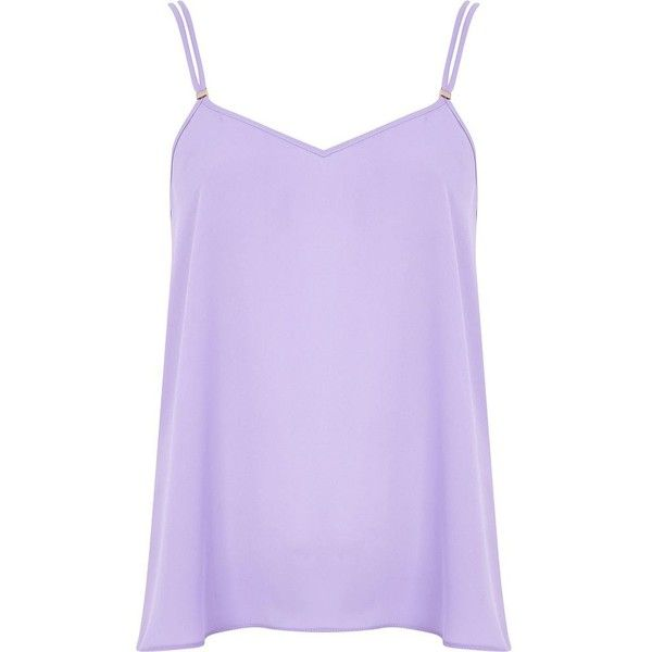 af6bf6c652b4cb River Island Light purple V neck cami top ( 10) ❤ liked on Polyvore  featuring tops