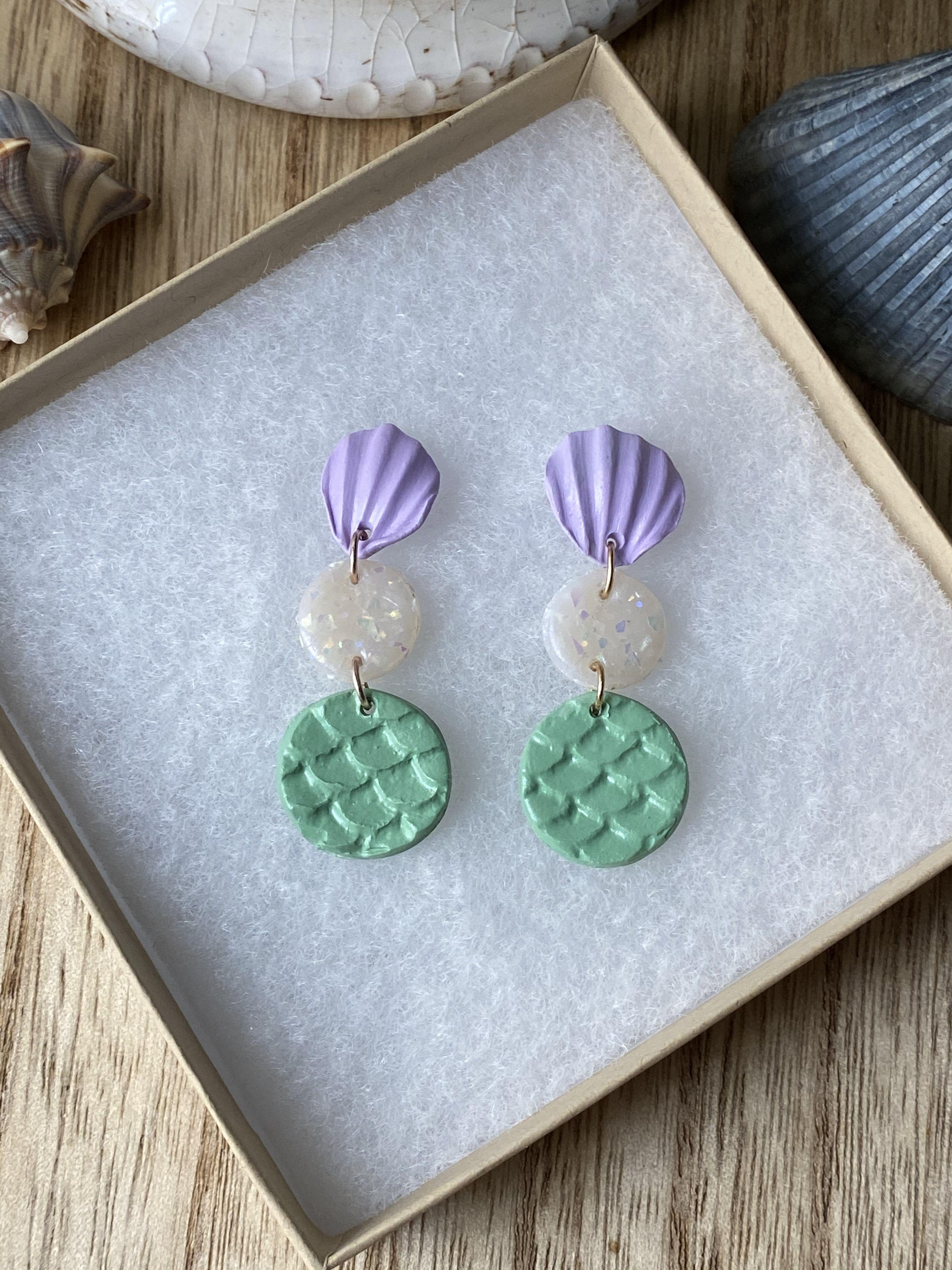 Mermaid Polymer Clay Earrings Polymer Clay Flower Jewelry Polymer Clay Beads Diy Polymer Clay Jewelry Diy