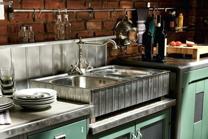 nuevo estilo para la cocina, paredes con ladrillos y muebles ...