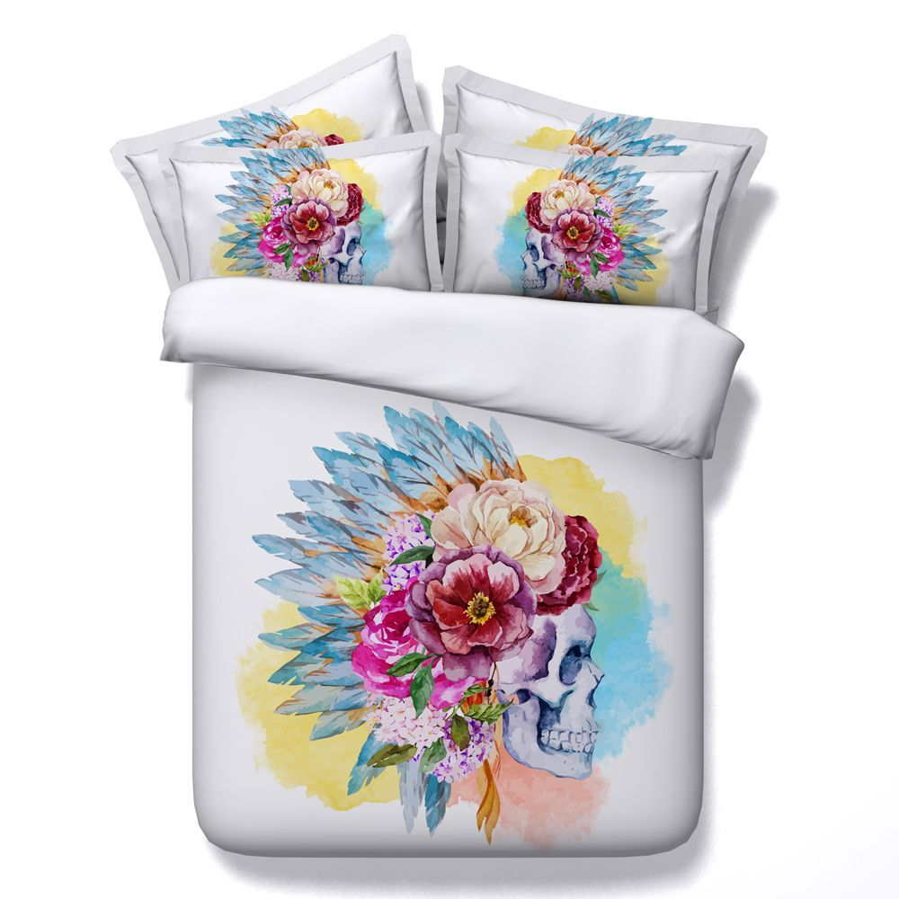 Halloween bedding set queen king twin colorful floral skull ...
