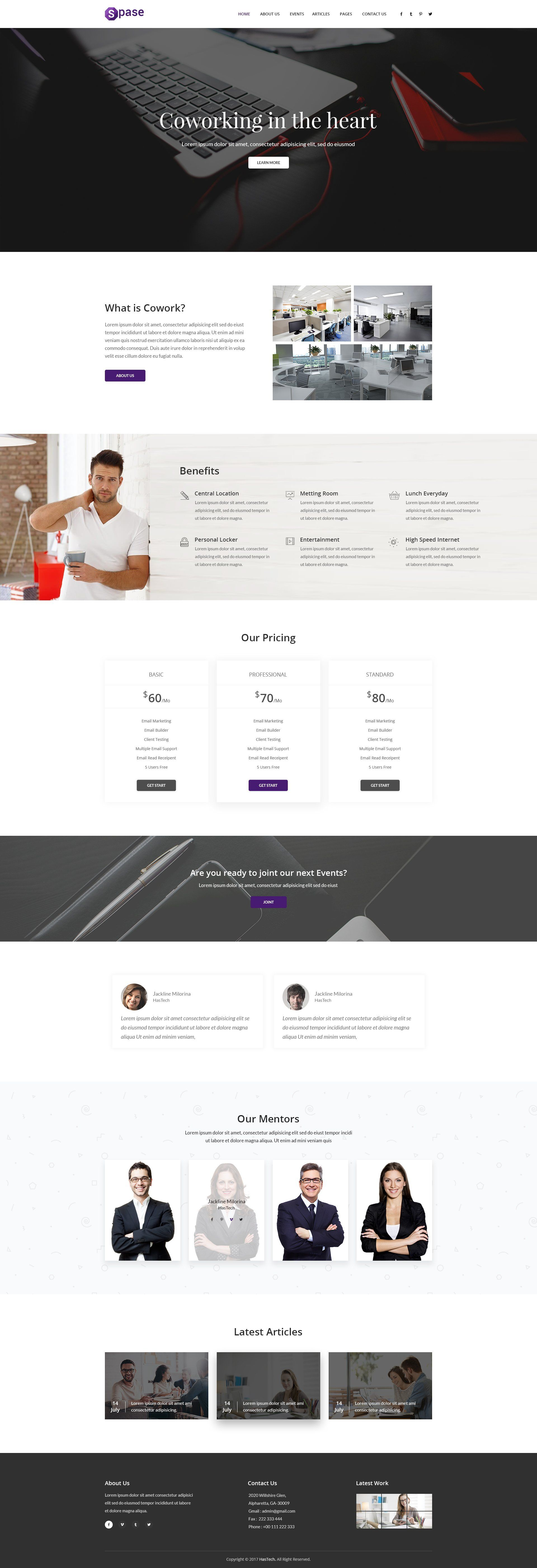 Spase Coworking Html Template Html Templates Coworking Templates