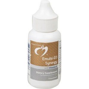 Designs For Health - Emulsi D3 Synergy 1oz liquid by Designs For Health. $28.00. Designs For Health - Emulsi-D3 Synergy with Vitamin K - 1 fl oz.. Pleasant tasting, naturally emulsified liquid Vitamin D3 with vitamin K  Emulsi D3 Synergy is the same concentrated, highly bioavailable, emulsified liquid form of vitamin D found in our standard Emulsi-D3 (2,000 IU per drop) with an added 250 mcg vitamin K1.  Both vitamin D and K are essential for optimal bone and arterial h...