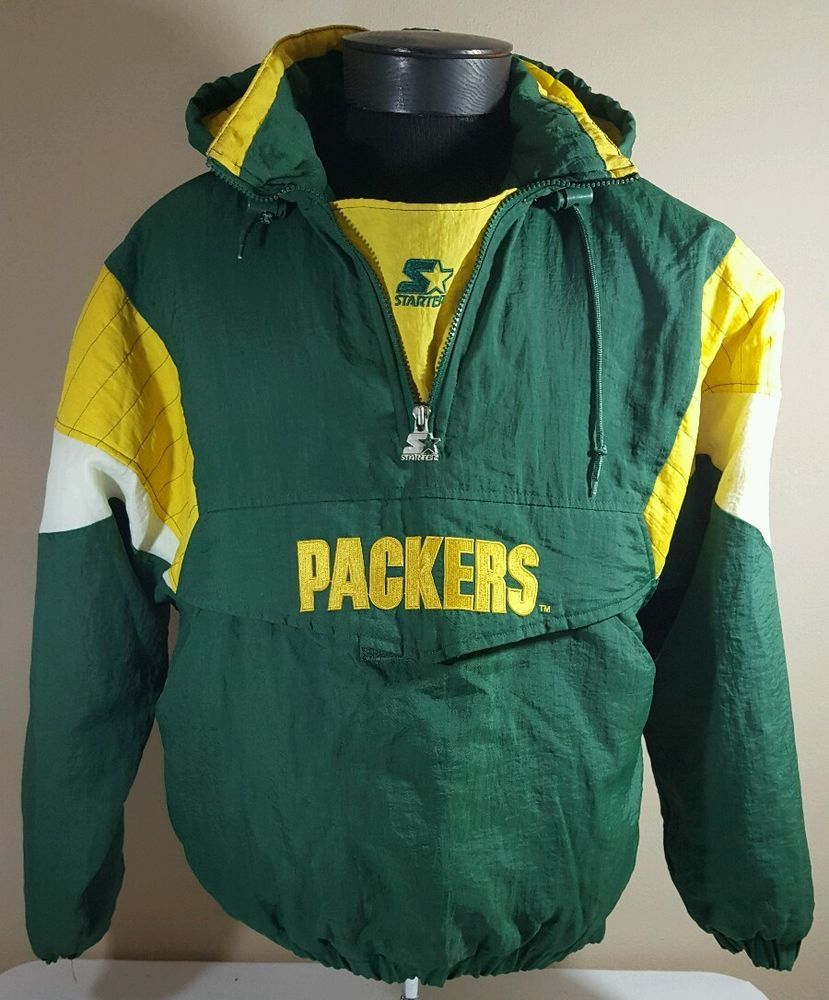 9b4a4f22 Vtg Starter Jacket Green Bay Packers Pullover Men Xl Winter Nylon ...