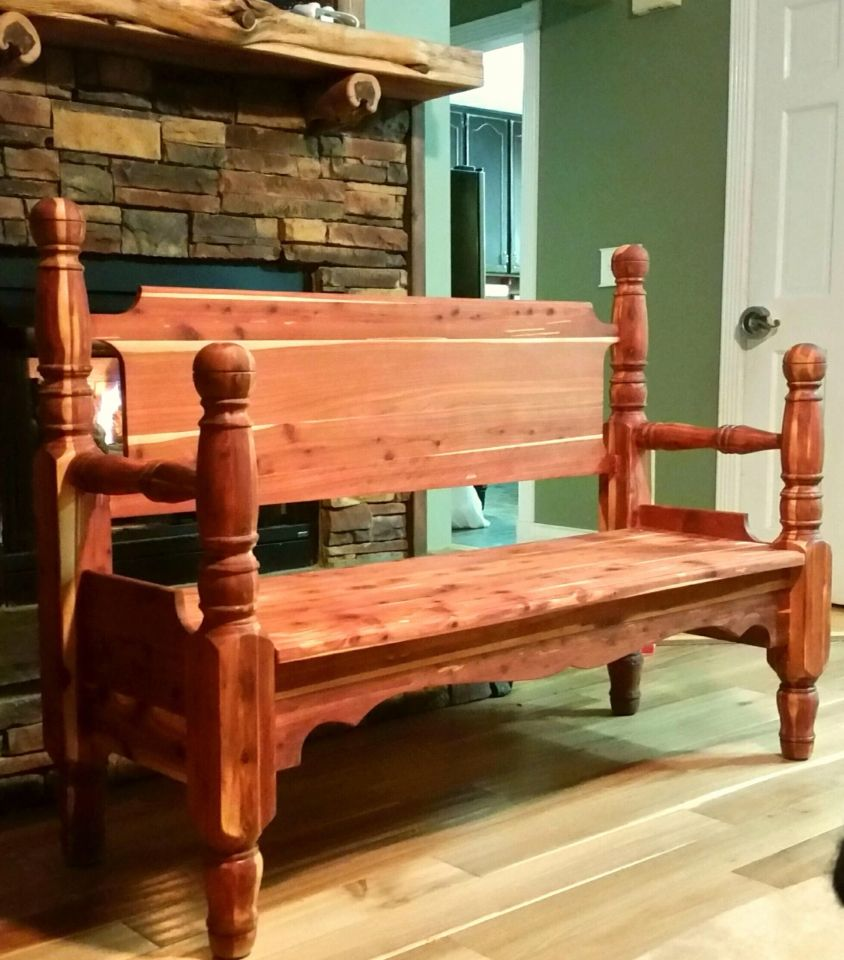 Cedar Bench Made From An Old Headboard Footboard And Broken Dresser All Repurposed To