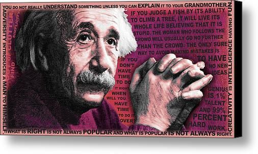 Albert Einstein and Quotes Red on Stretched by RubinoFineArt, $70.00