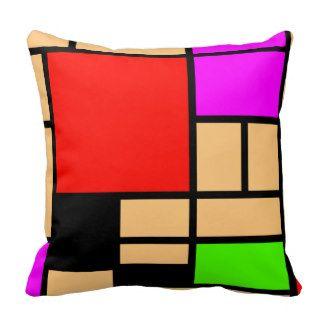 Nouveau style de Mondrian, couleurs modernes Coussin Décoratif