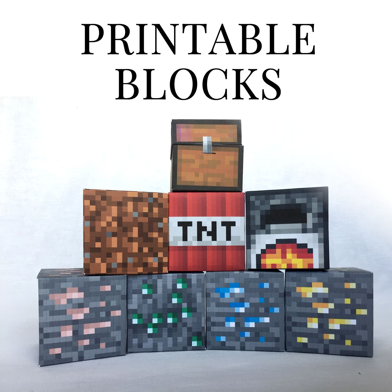 Set 4 minecraft printable papercraft blocks pinterest for Minecraft tnt block template
