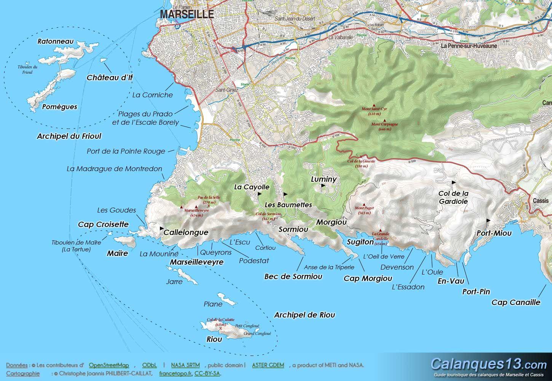 Marseille Carte Des Calanques En France Calanques De