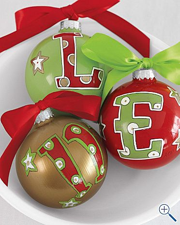 Cute initial ornaments; one for each family member or Christmas gift for friends..