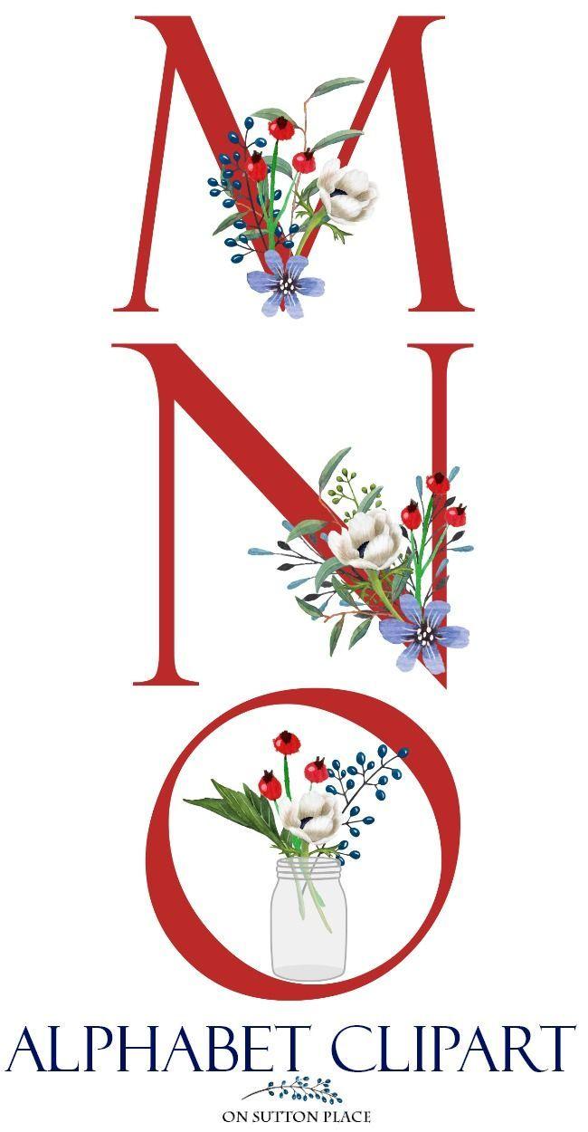 patriotic floral alphabet clipart, letters clipart, red, white, blue
