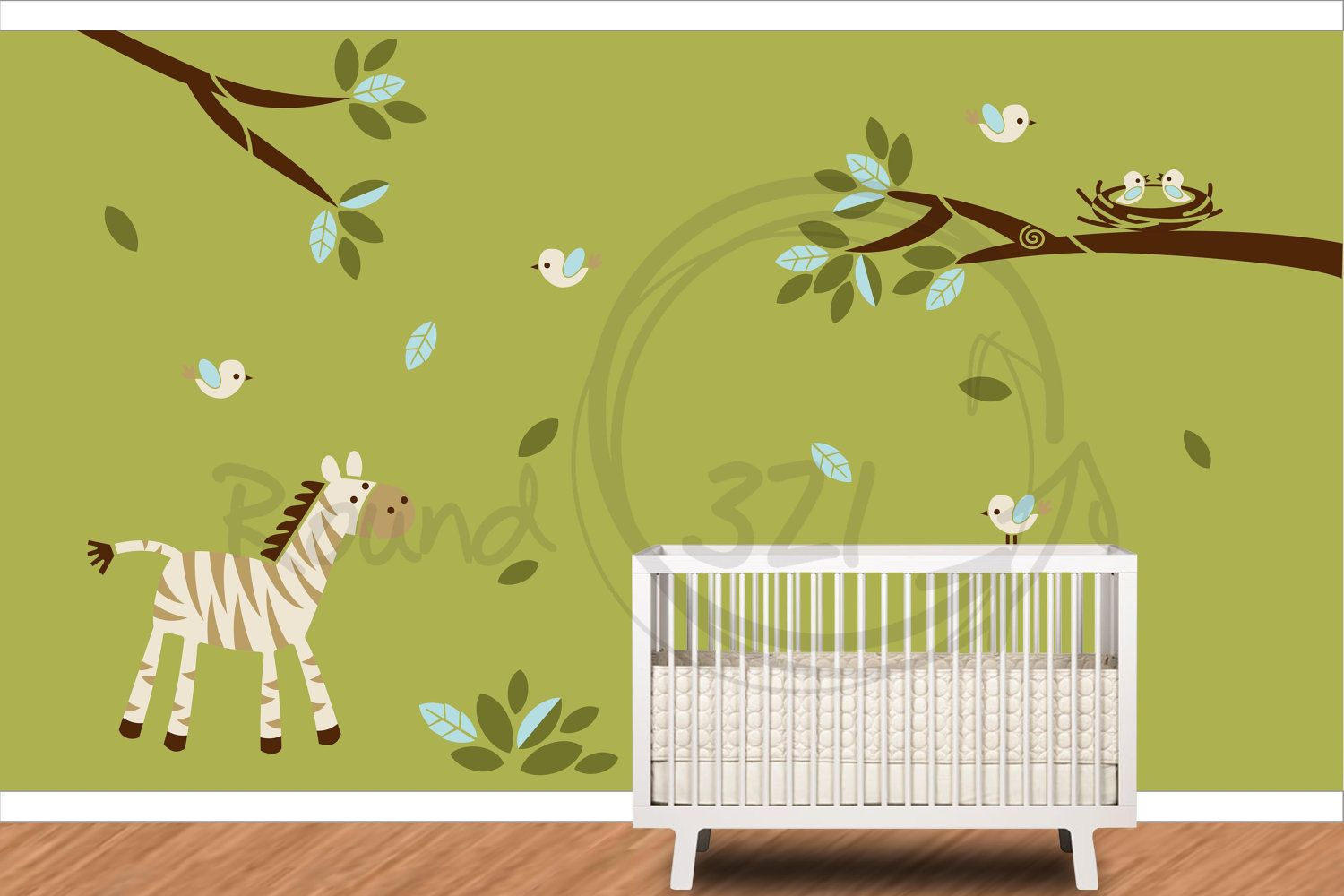 Zebra and Birds Hanging Out Wall Decal- Jungle Theme Wall Decal ...
