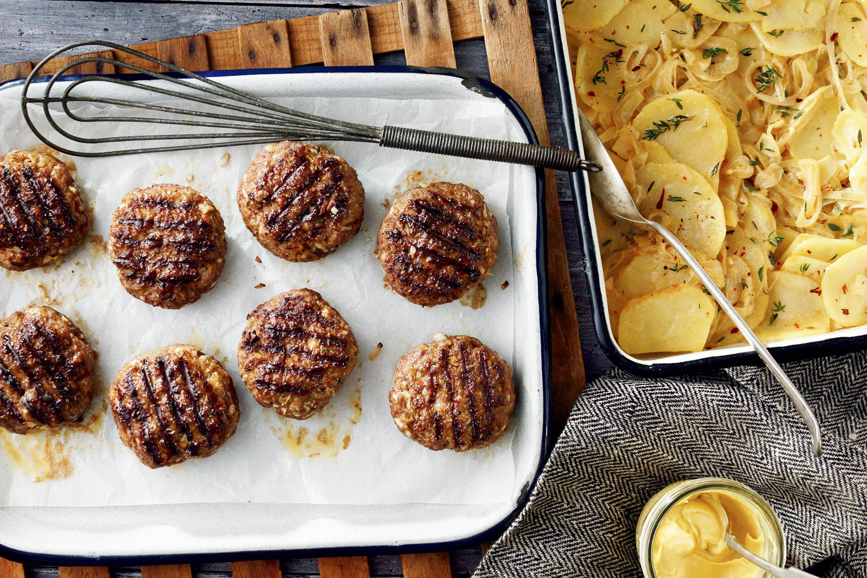 Curtis Stone beef rissoles with scalloped potatoes ...