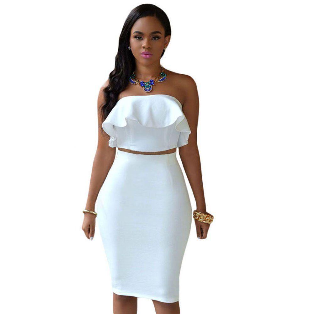 Ruffle Crop Top Maxi Skirt Set 2 Piece Outfit Bandage Nightclub Dress Maxi Skirt Crop Top Womens Midi Dresses Piece Dress [ 1001 x 1001 Pixel ]