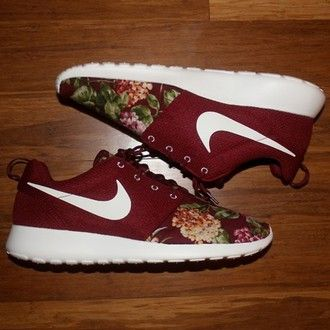 a9895f99a29a shoes nike sneakers floral burgundy nike roshe run maroon floral roshes red  nike…