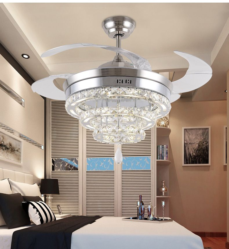 Led Crystal Chandelier Fan Lights Living Room Minimalist Restaurant Modern With