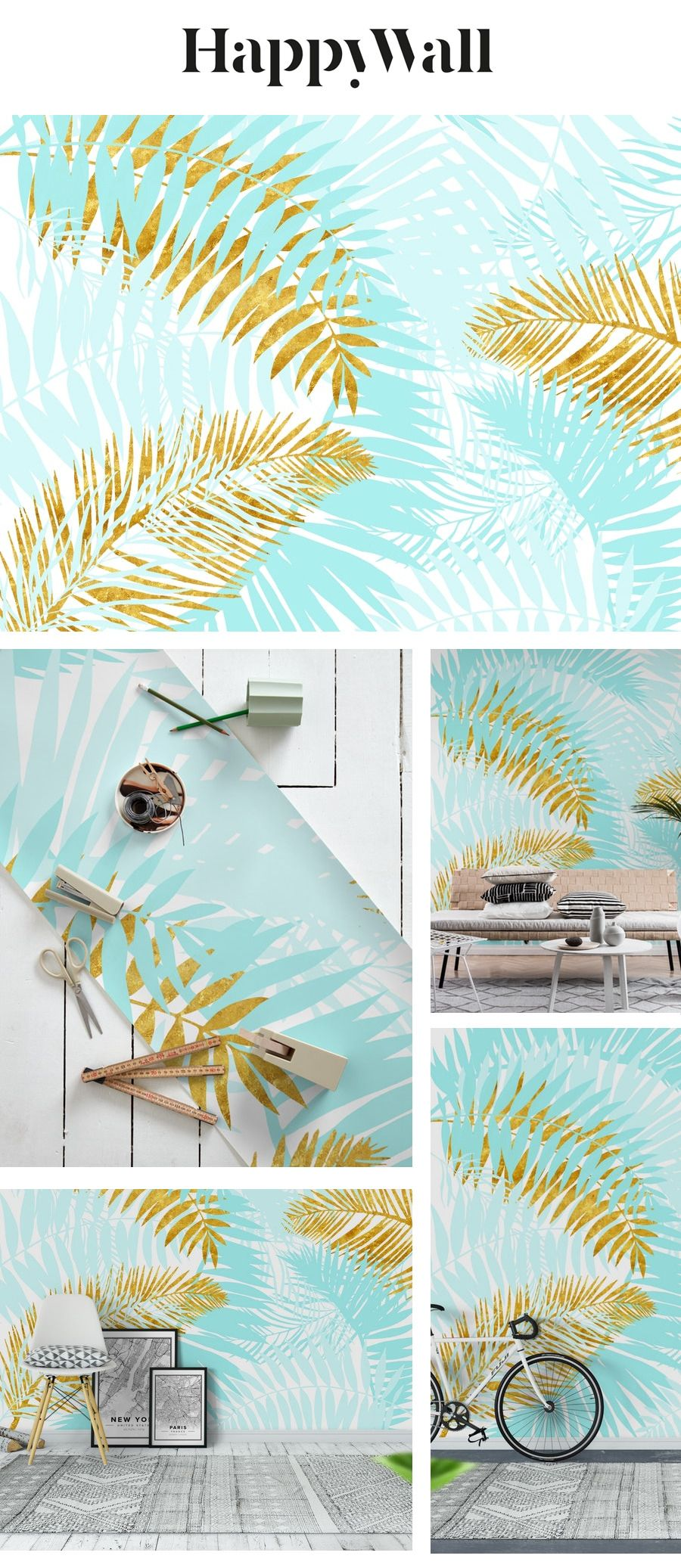 Teal And Gold Palm Leaves Wall Mural From Happywall Palms Trend Tropical Tropics Summer Livingroom Bedroo Palm Leaf Wallpaper Wall Murals Leaf Wallpaper