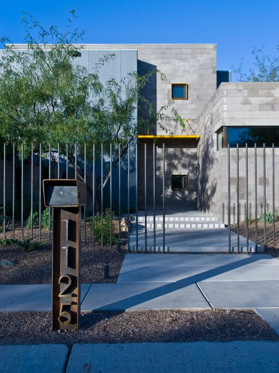 , Contemporary Exterior With Modern Rusty Metal Mailbox Post Ideas Also Modern Fence Design And Concrete Ground Also Gray Bricks House Design: Adorable Mailbox Designs for Your House
