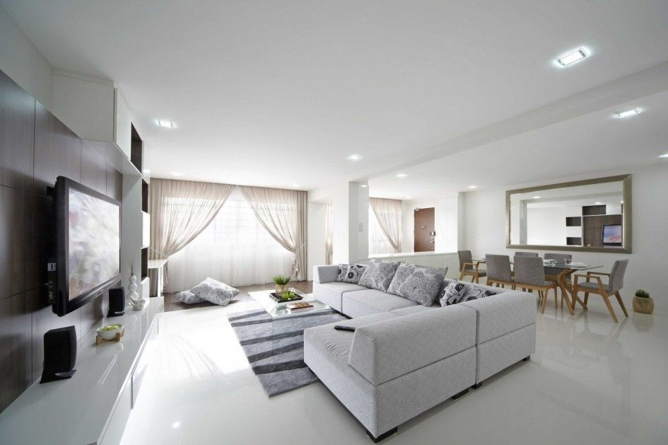 Interior White Color Style Open Space Plan Living Room Design With L Shaped Modern White Sofa Furnitur Modern Family Rooms Living Room Modern Living Room White