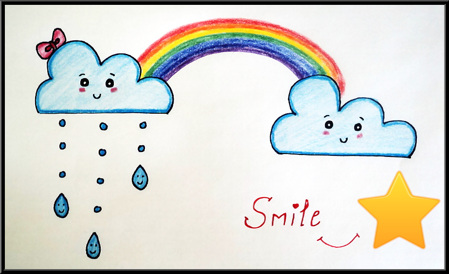 Fun Drawings Howto Draw Smiling Clouds And Rainbow Drawing