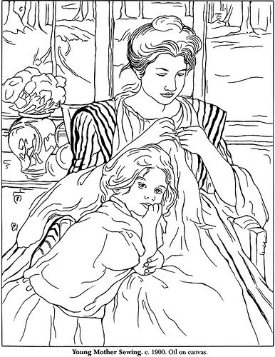 Color Your Own Mary Cassatt Masterpieces 1 Art Coloring Pages