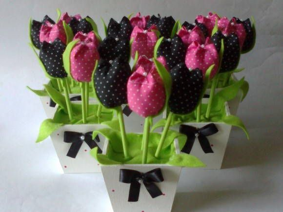 Vaso Pink E Preto Promocao Flores Artesanato Tulipas