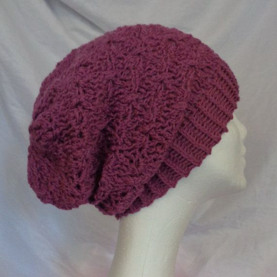 Violet Pink Crochet Beanie  Icelandic Production by HuldaGK