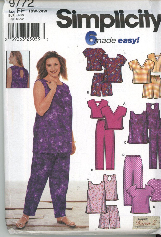 Simplicity pattern 9772 Misses Tops Pants Shorts plus Size 18W - 24W