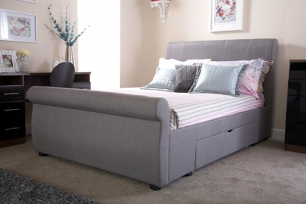 Alban Grey Storage Sleigh Bed Frame Fabric Bed Frame Grey