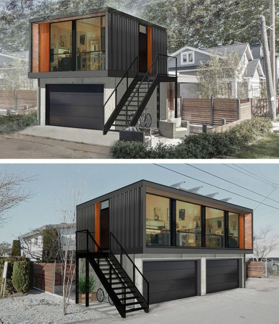 small shipping container homes with garage casa sustent vel pinterest container container. Black Bedroom Furniture Sets. Home Design Ideas