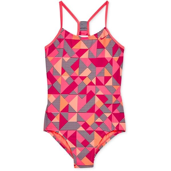 876aa0f3a7ffd Nike 1-Pc. Optic Pop Racer-Back Swimsuit, Big Girls (7-16) ($46) ❤ liked on  Polyvore featuring swimwear, one-piece swimsuits, pink, swim wear, nike ...