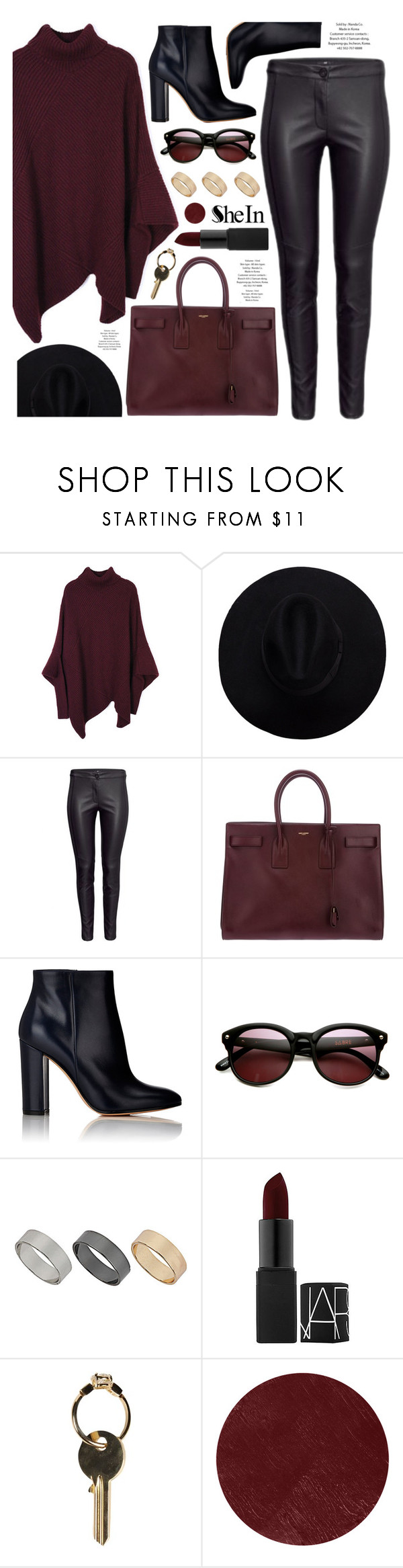 """burgundy"" by ruska-10 ❤ liked on Polyvore featuring Yves Saint Laurent, Gianvito Rossi, Sabre Vision, Dorothy Perkins, NARS Cosmetics, Maison Margiela, Burberry and Sheinside"