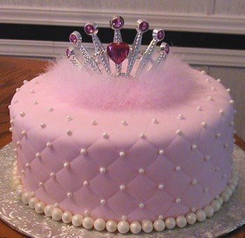 Pink cake with pearls and a tiara Tickled pink cake ideas
