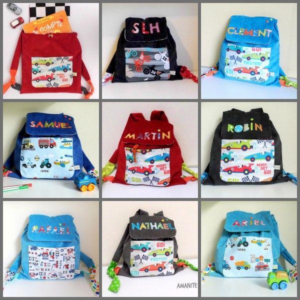 Décorées-sac enfants sac maternelle sac avec nom brodés nains-tissu