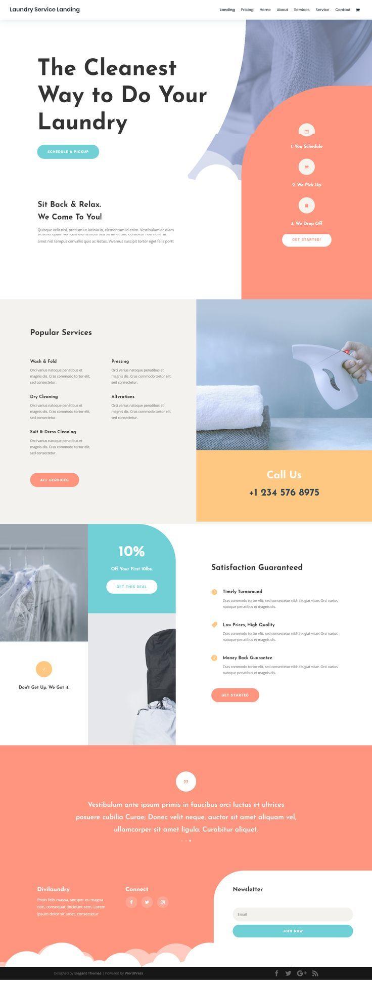 Laundry Service Landing Page Elegant Themes Unique Web Design Web Layout Design Colorful Website Design