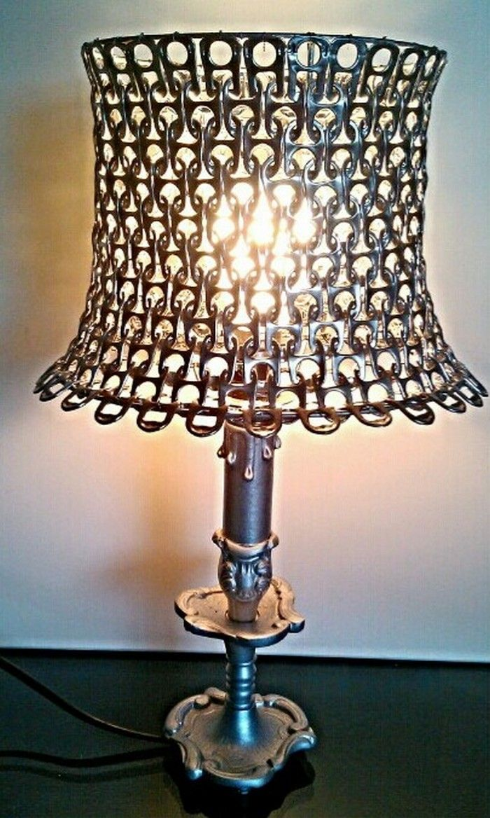 Diy soda pop tab lamp shade lmpara sobremesa pinterest latas diy soda pop tab lamp shade aloadofball Image collections