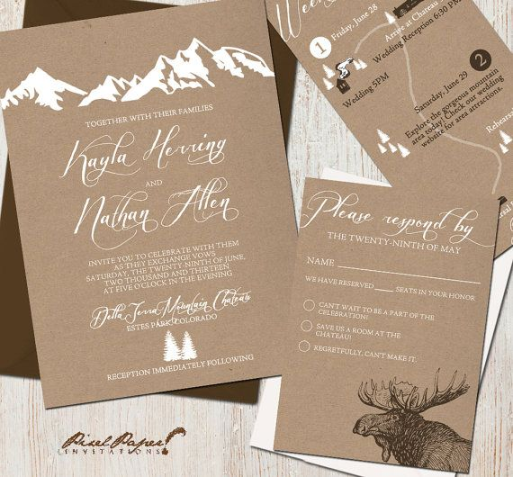 Mountain Retreat Wedding Invitation Suite by pixelpaper on Etsy