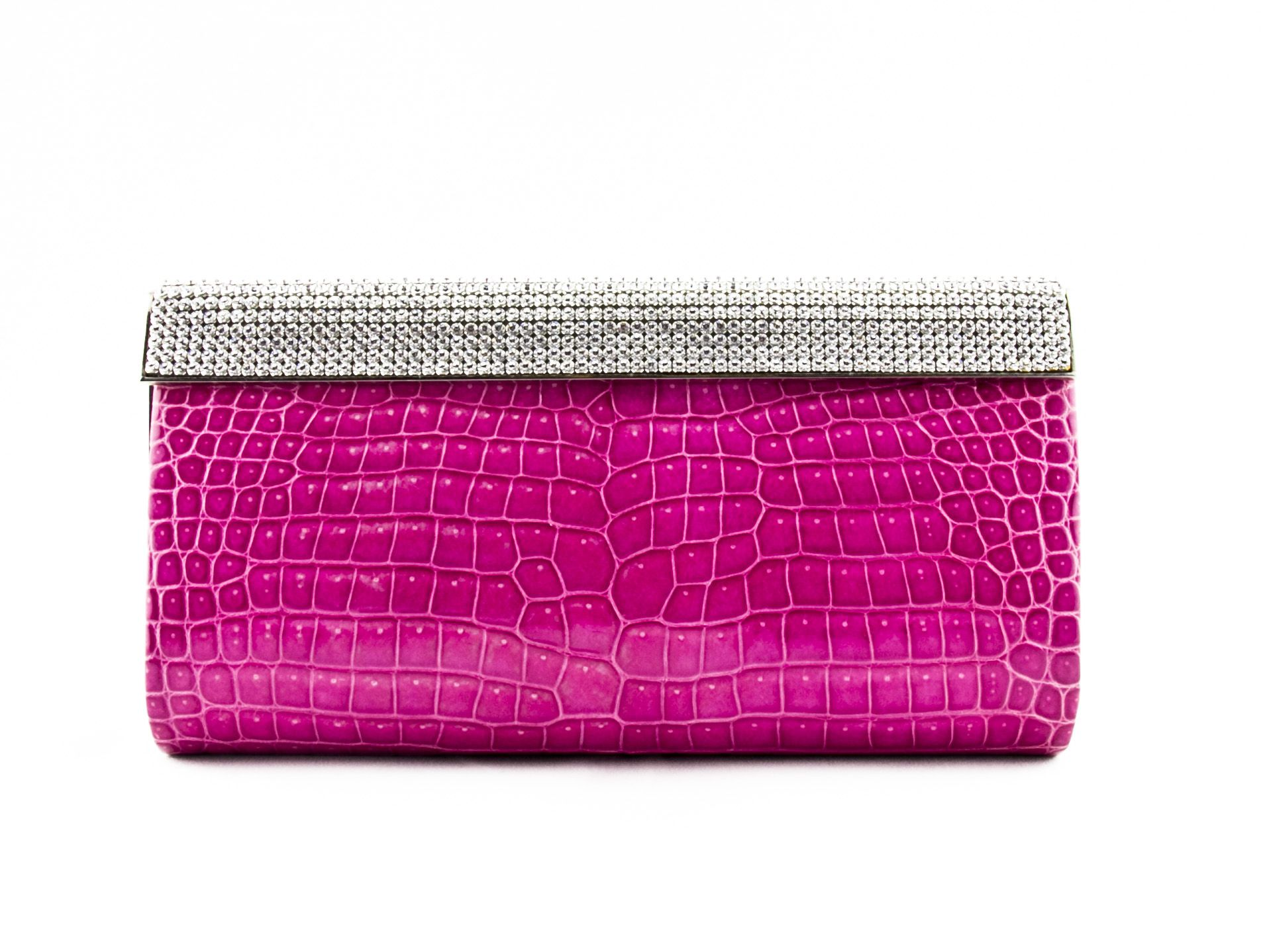 Leu Locati crystalized Swarovski exotic crocodile clutch
