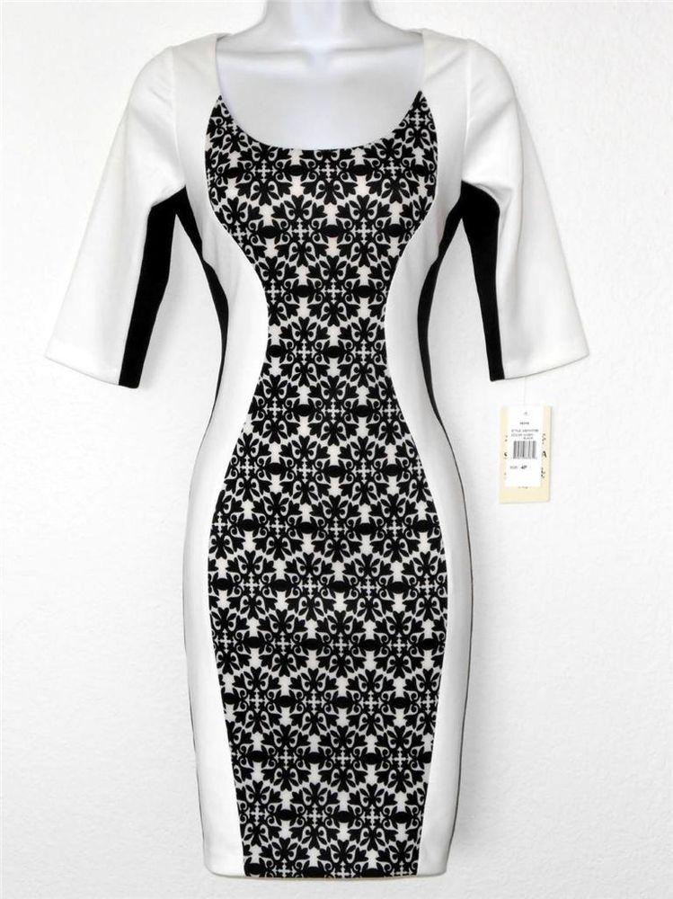 Sangria Dress Black White Colorblock Print Stretch Cocktail Petites