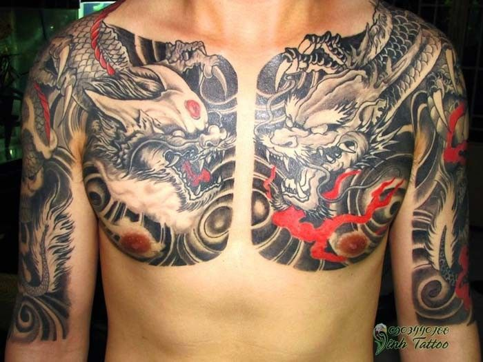 Evil Chinese Dragons Tattoo On Chest Dragon Tattoo Chest Chinese Dragon Tattoos Dragon Tattoos For Men
