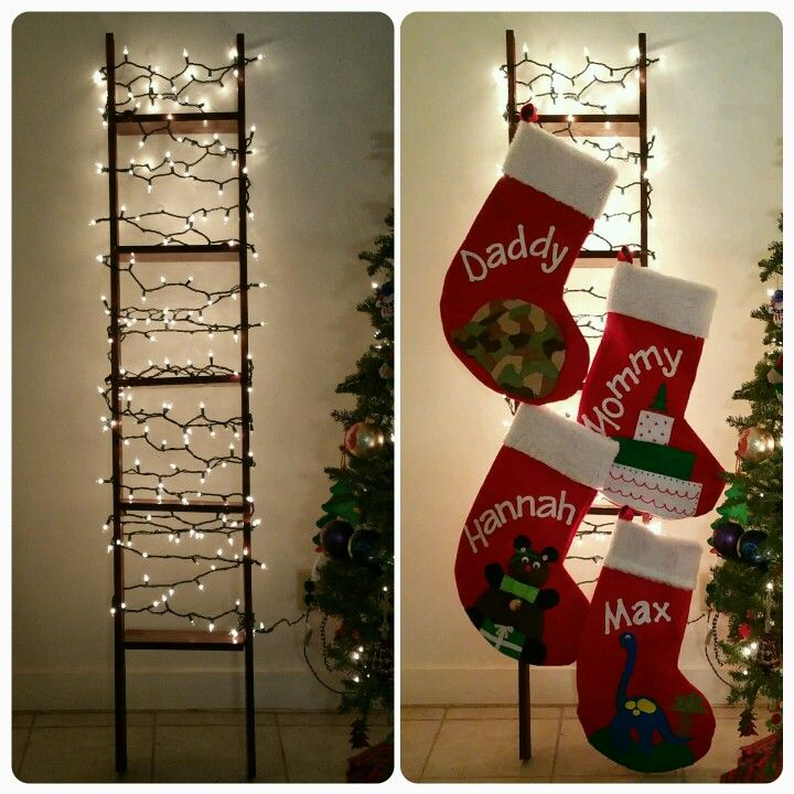 My Christmas Stocking Ladder 2 2x4s And 5 1 Foot Boards Together And Paint Adds To Hang Stockings So Easy