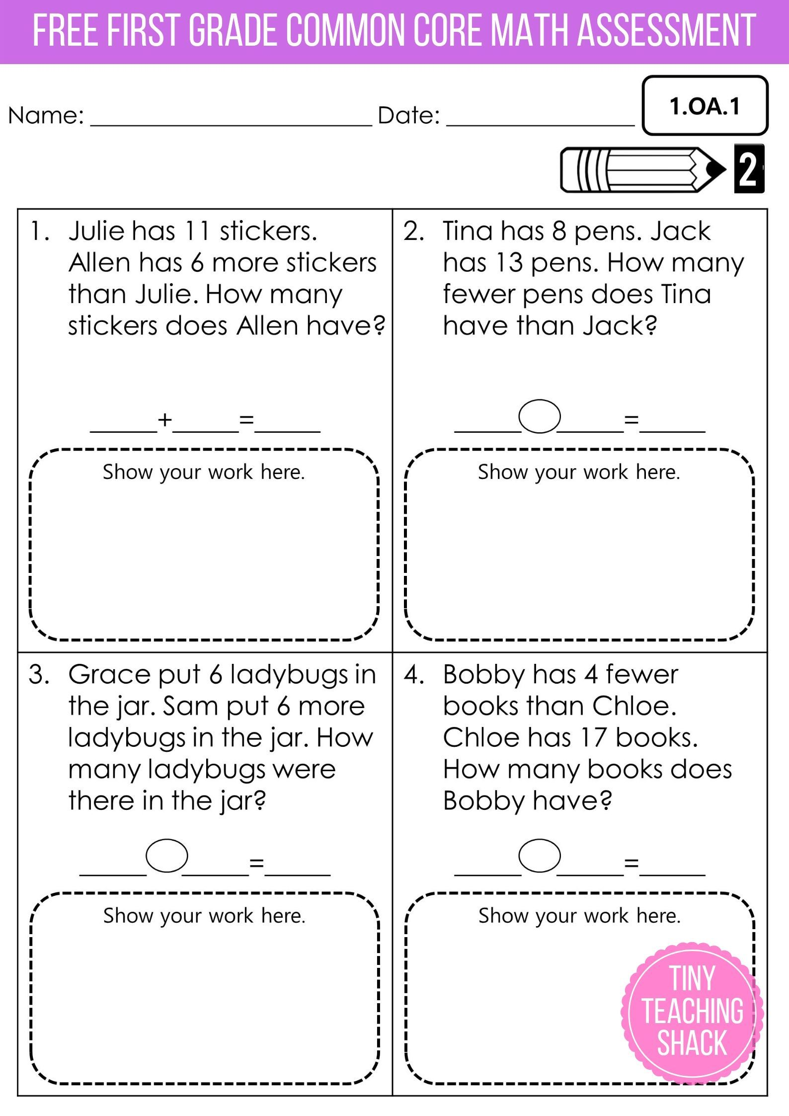 1st Grade Common Core Math Assessments Freebie
