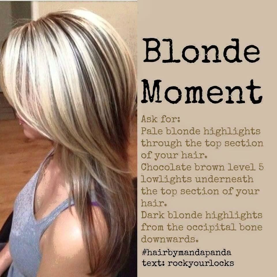 pale blonde and chocolate brown two tone hair colour