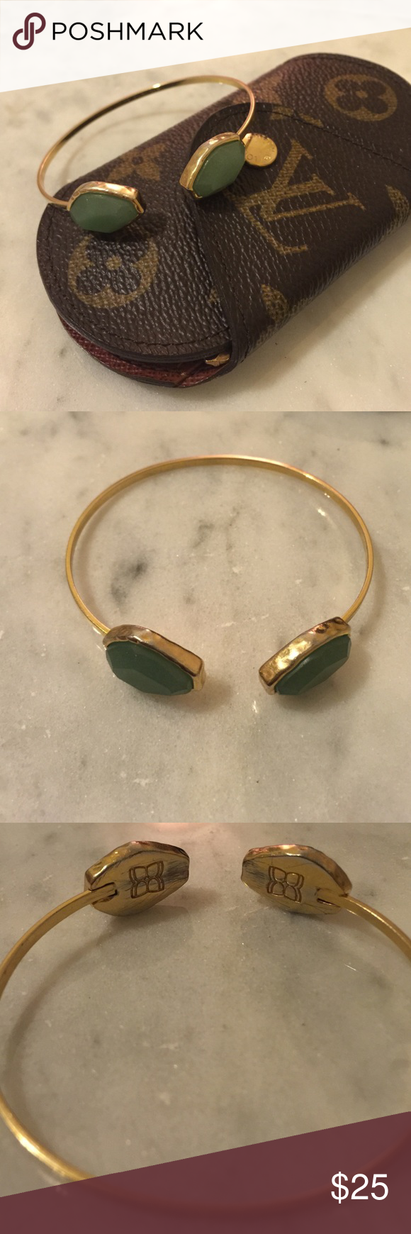 BCBG Max Arizia Bracelet BCBG Max Arizia Bracelet Gold Tone Jade. Only scratch is on the inside portion of logo hidden on arm. The actual bracelet and stone is great condition. See the detailed photos BCBGMaxAzria Jewelry Bracelets