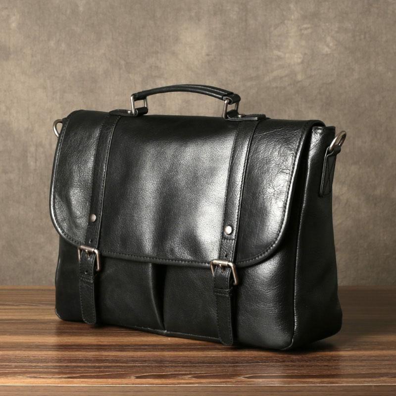 Genuine Leather Mens Cool Messenger Bag Briefcase Work Bag Business ... 99773f4cb5