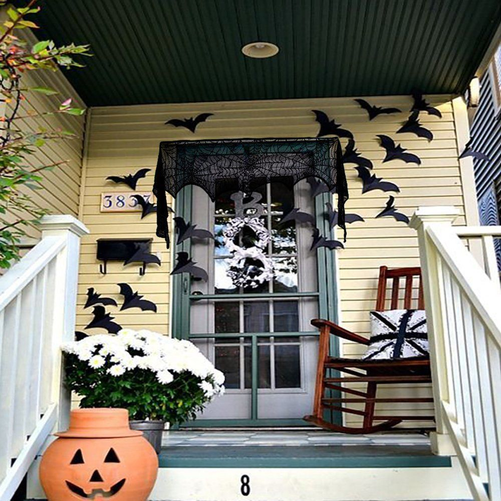 Window decor for halloween  halloween cobweb fireplace scarf lace spiderweb mantle cover party
