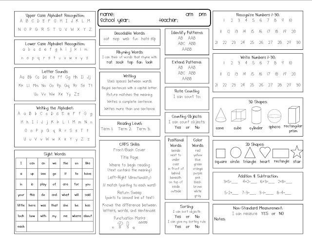 Assessment Kinder Assessment Kindergarten Report Card Reading