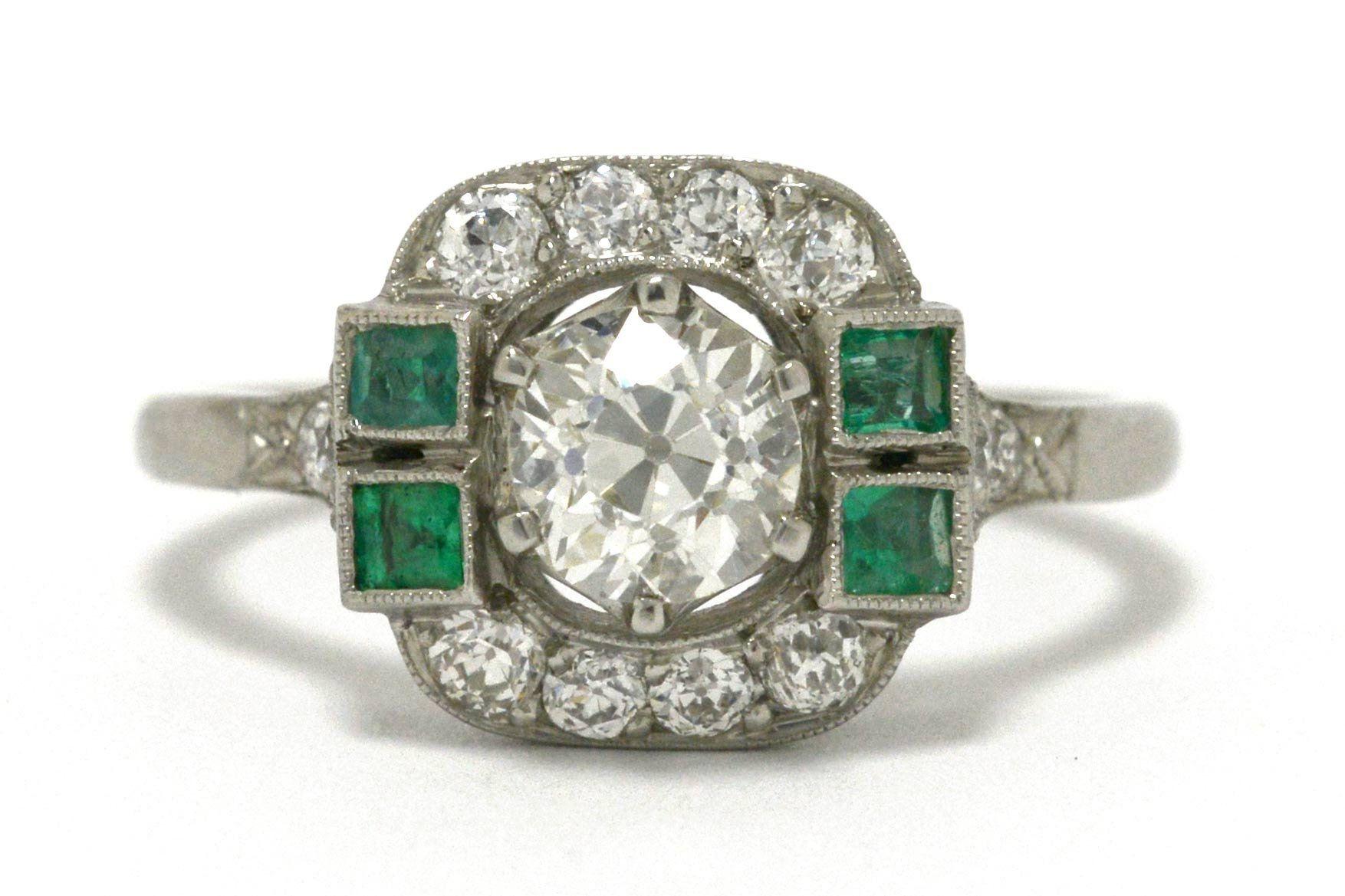 Vintage Old Mine Diamond Engagement Ring Emerald Accent Antique Art Deco Platinum Sq Diamond Engagement Rings Vintage Engagement Rings Diamond Engagement Rings