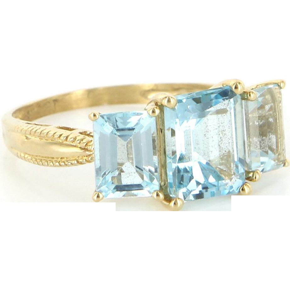 Estate 14 karat yellow gold blue topaz three stone ring for 14 karats fine jewelry
