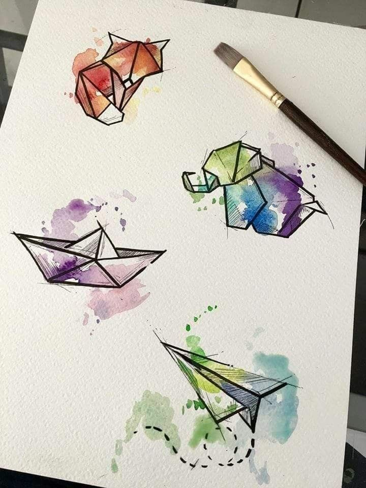 Wie Suss Ware Ein Aquarell Origami Thema Fur Ein Kinder Oder